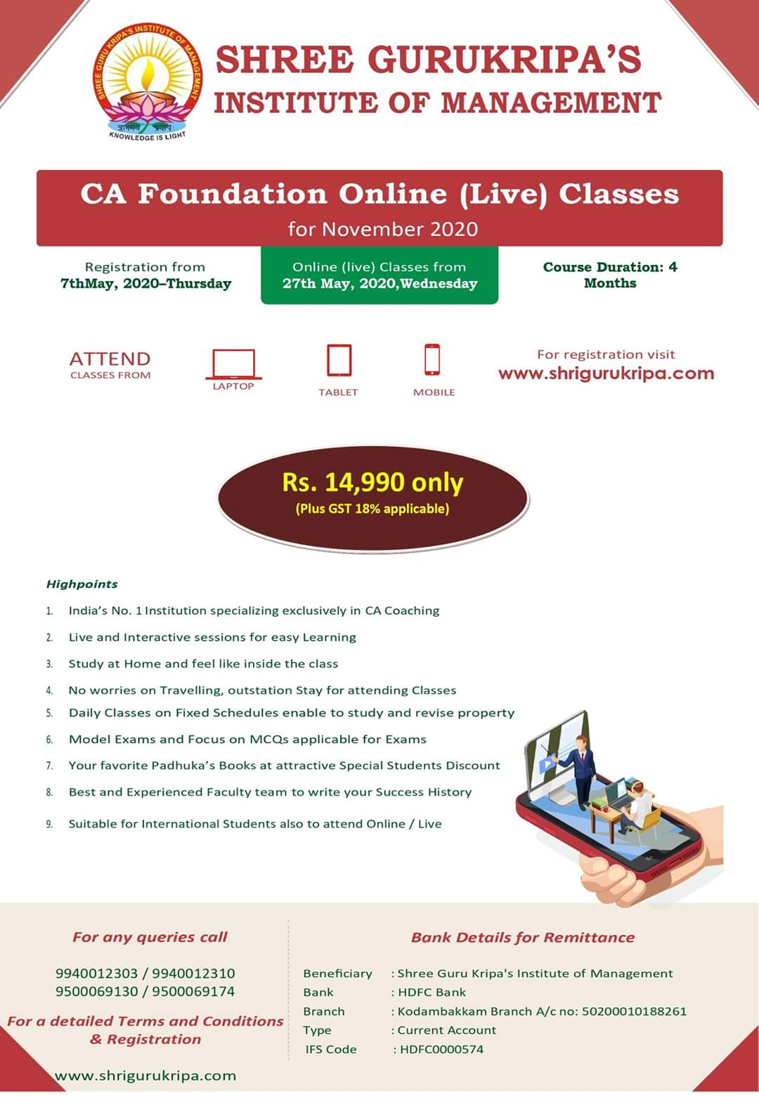 Shree Guru Kripa :: Gurukripa's CA Inter Classes for Nov